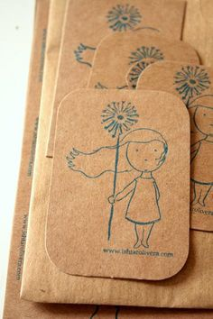 Handmade Stamps on cardstock. Great simple piece to send along with your shipped product.