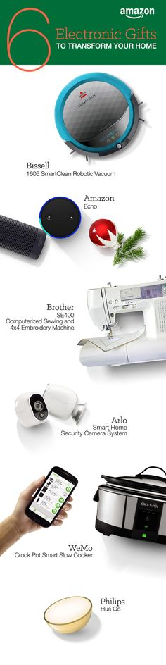 Find everyday home gadgets and personal electronics to make everyday life a little bit easier. Braun shavers, Dyson vacuums, and the Amazon Echo are great Christmas gifts to make chores a breeze. http://www.amazon.com/b/?_encoding=UTF8&node=7258724011&tag=tsa030-20&ascsubtag=ptw-PIN-1-9-1447387717431qY&ref_=ptw_PIN_1_9_1447387717431qY
