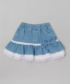 Look at this #zulilyfind! Frills du Jour White & Blue Ruffle Skirt - Toddler & Girls by Frills du Jour #zulilyfinds