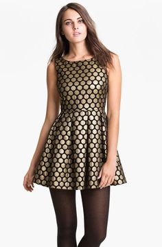 "Nothing says ""party"" like a metallic brocade polka dot dress!   -Casey (@poodleshoegirl)  http://www.simon.com/mall/burlington-mall/stores/nordstrom"