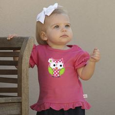 Baby Girls Personalized Hot Pink Ruffle Top