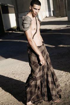 Stylists: Marco Antonio Pardo, Nicolau Vergueiro. Photographer: Eric Mas. Model: Myke.   men's skirts