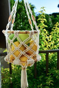 Macrame Design, Macrame Art, Macrame Projects, Fruit Storage, Vegetable Storage, Storage Basket, Hanging Fruit Baskets, Boho Kitchen, Kitchen Decor