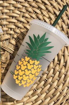 Your place to buy and sell all things handmade Pineapple Cup, Pineapple Design, Personalized Starbucks Cup, Starbucks Tumbler, Disney Diy, Disney Crafts, Walt Disney, Vinyl Projects, Craft Projects