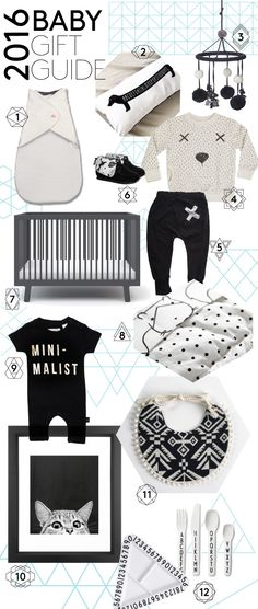 The coolest products for baby. 2016 gift guide featuring nursery, bedding, accessories, swaddles, and baby clothes.