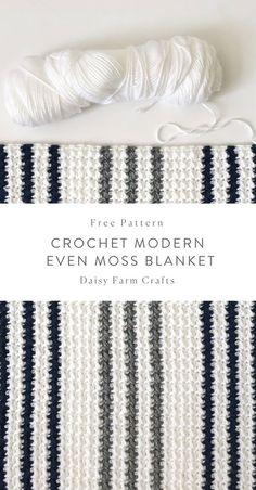 Crochet Afghans Patterns Free Pattern - Crochet Modern Even Moss Blanket Crochet Afghans, Crochet Stitches Patterns, Baby Blanket Crochet, Crochet Baby, Crochet Blankets, Baby Blankets, Afghan Patterns, Crotchet, Double Crochet