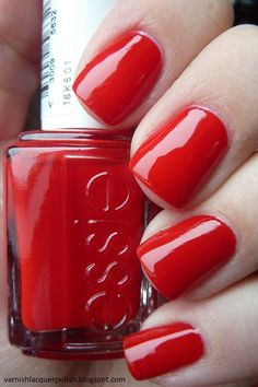 """OPI – """"Big Apple Red"""": a classic red that won't let you down like your go-to pair of red heels Image source Essie Oxblood Red Nail Polish Image source Essie """"Dark Red Cream""""…i have at least 10 favorite red, who… Continue Reading → Essie Nail Polish, Nail Polish Colors, Nail Manicure, Gel Polish, Essie Colors, Nail Polishes, Holiday Nail Colors, Holiday Nails, Red Nail Designs"""