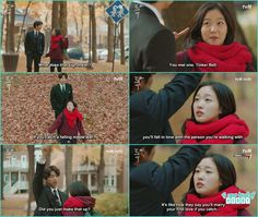 eun tak and goblin walking in the maple garden when kim shin grab a maple leave and she ask him to leave the leave - Goblin - Episode 2 (Eng Sub)