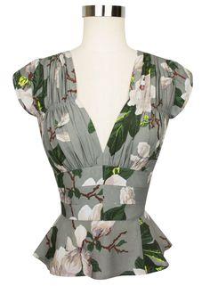 Trashy Diva Women's Steel Magnolias Grey Floral 40s Vintage Blouse UK 6/US 2 New   eBay