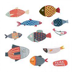 Art And Illustration, Elise Gravel, Fish Design, Fish Art, Art Plastique, Art For Kids, Art Drawings, Drawing Sketches, Art Projects
