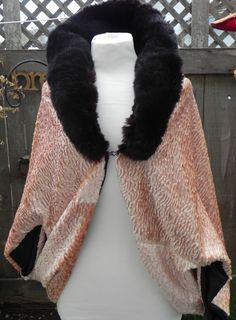 Textured Velvet & Vintage fur Caplet  SOLD