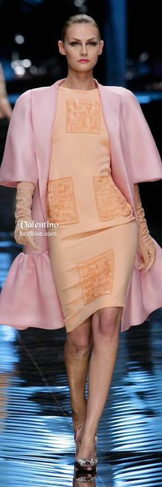 Valentino Baby Pink Dress Coat and Peach Cocktail Dress