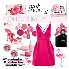 """""""Color Me Pretty: Head-to-Toe Pink"""" by sabbbycat ❤ liked on Polyvore featuring Clinique, Kate Spade, Manolo Blahnik, Oliver Gal Artist Co., Frederic Sage, Marc Jacobs and Topshop"""