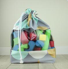 Drawstring Toy Storage Bag Handmade With Clear Vinyl Window / Medium / Blue  Grey White Scallop