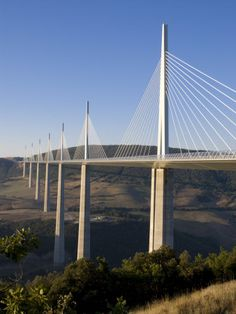 Suspension Bridge, Millau, Aveyron, Massif Central, France