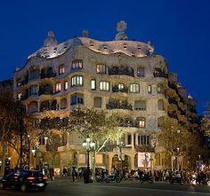 Casa Milà at dusk in Barcelona, Spain. The bui...