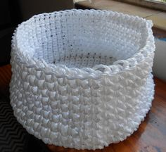 White plastic rope basket, crocheted