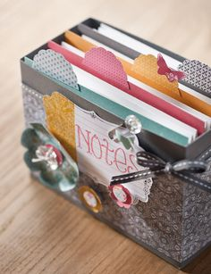 DIY box for organizing notes or greeting cards.