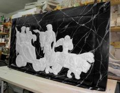 Triumph of Dionysus and Ariadne Black High relief made and decorated by hand, using the technique of faux marble on wood. #artigianato #madeinitaly