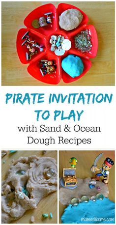 Pirate Invitation to Play - includes play dough recipes for sand and ocean dough!  #pirates #playdough #preschool