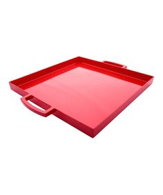 12.99-BY ZAK DESIGNS / MELAMINE / Red MeeMe Square Tray | zulily / 15.25 W X 12.5 H