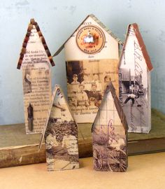 Items similar to Friendship House- Mixed Media Original - Altered Wood Block on Etsy Friendship House, Paper Art, Paper Crafts, Paper Toys, Art Projects, Projects To Try, Arte Country, Paper Houses, Wooden Houses