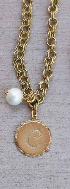 Universal Initial Gold Necklace with Pearl by John Wind Maximal Art