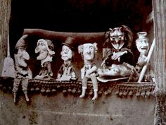 Punchinello & Gang...just love old puppet shows. Creepy, Scary, Ventriloquist Dummy, Sideshow Freaks, Punch And Judy, Toy Theatre, Marionette Puppet, Puppet Show, Hand Puppets