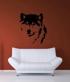 Wolf, Dog Face- Decal, Sticker, Vinyl, Wall, Home, Bedroom, Kid's, Dorm Decor