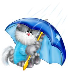 Cat with Umbrella PNG Free Clipart. It's raining pompoms from pompom shooters at kitty party.