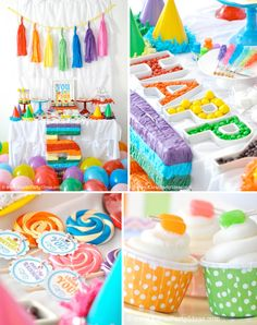 A festive and cheerful table for a rainbow party.