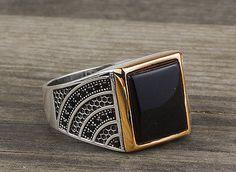 925 K Sterling Silver Man Ring  Black Onyx Gemstone 11,5 US Size B14-63570-