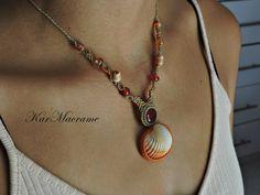 Carnelian macrame necklace\handmade\micromacrame by KarMacrame on Etsy
