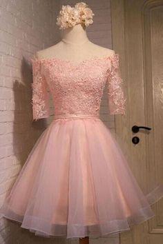 Women's Pretty Off Shoulder Half Sleeves Pink Homecoming Dress,Short A-Line Organza Appliques Homecoming Dresses,Juniors Homecoming Dress PD312