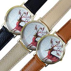 >> Click to Buy << 2015 Fashion Men's Women's Colorful Sika Deer Faux Leather Band Quartz Analog Dress Wrist Watch  8HU7 #Affiliate