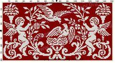Gallery.ru / Фото #54 - Le Filet Ancien au Point de Reprise VII - gabbach Cross Stitch Angels, Cross Stitch Charts, Cross Stitch Embroidery, Embroidery Patterns, Cross Stitch Patterns, Embroidery Books, Scroll Pattern, Red Pattern, Thread Crochet