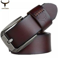 COWATHER Vintage style pin buckle cow genuine leather belts for men high quality mens belt cinturones hombre Leather Buckle, Leather Belts, Cow Leather, Leather Craft, Men's Belts, Vintage Stil, Vintage Men, Vintage Fashion, Metal Buckles