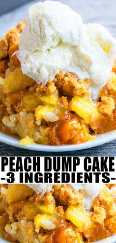 PEACH DUMP CAKE RECIPE (PEACH COBBLER DUMP CAKE)- Best, quick, easy, homemade with simple ingredients. Starts off with yellow cake mix instead of being made from scratch. A great Summer dessert! Can be made in slow cooker/ crockpot too with canned pie filling too. From CakeWhiz.com #cake #peaches #dumpcake #baking #dessert #recipes