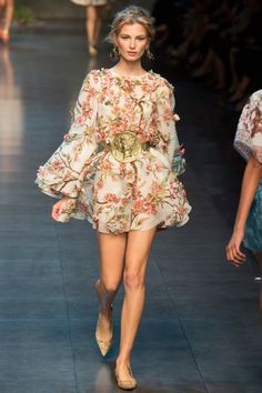 Dolce & Gabbana Spring Summer 2014...Frilly Pretty Short Flowy Floral Dress...