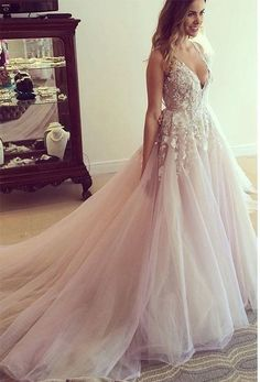 Champagne Handmade Flowers Sequins V Neck Sash Wedding Dresses Bridal Gowns 2018