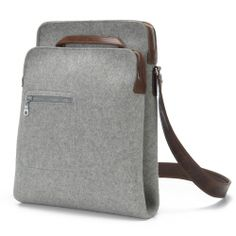Awesome Messenger Bag, Zip-Top grey felt, leather straps by Graf & Lantz. Now available at Silo American Made. Cat Purse, Cat Bag, Best Bags, Handmade Bags, Handmade Leather, Backpack Bags, Tote Bags, Messenger Bags, Bag Making