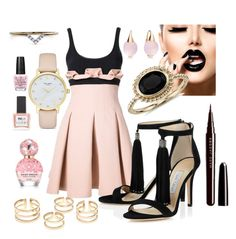"""""""Sweet-n-Goth Glam"""" by avni7 ❤ liked on Polyvore featuring David Koma, Blue Nile, Pomellato, ncLA, Diamonds Unleashed, Kate Spade, Marc Jacobs and OPI"""
