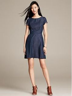 Chambray Fit-and-Flare Dress. See what I'm saying about this model (and the stylist they're working with)?