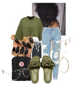 """""""Fenty Puma Slides Outfit"""" by slaaay ❤ liked on Polyvore featuring Topshop, Fjällräven, Blue Crown and GUESS by Marciano"""