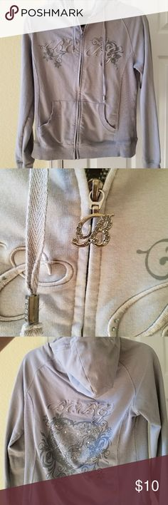 Bcbg hoodie Few faux diamonds missing off zipper can't tell unless you know they are missing. BCBG Tops Sweatshirts & Hoodies