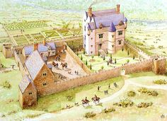 Paint the Past Archaeological and Historical Reconstruction and Illustration Prehistoric Sites Medieval Houses, Medieval Town, Medieval Castle, Fantasy Places, Fantasy Map, Medieval Fantasy, Historical Architecture, Ancient Architecture, Small Castles