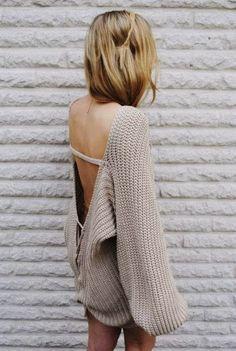 Oversized Crochet Sweater Dress
