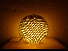 Round lamp in crocheted wool handmade by bubblewrapdesign on Etsy
