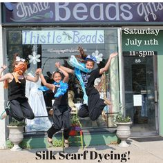 Come in anytime from 11-5pm and Dye your own silk scarf! Its only $20/per scarf, and its lots of fun.