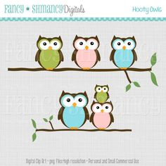 Owl Clip Art / Instant Download / Free Matching Paper /  Digital Clipart for Personal and Commercial Use / Hooty Owl Baby Colors